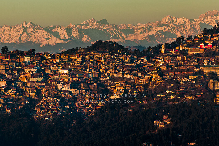 Shimla Town with Himalayan Range in the background.