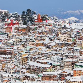 Shimla town covered in a thick sheet of snow in the winter of 2013.